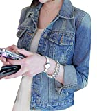 Cruiize Womens Relaxed Fit Distressed Button Down Denim Jean Jacket Washed Blue M