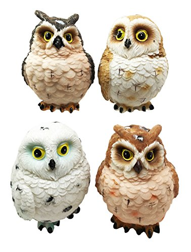 Cute Fluffy Colorful Great Horned Forest Snowy   Northern Pygmy Owl Chicks Figurine Set Of 4