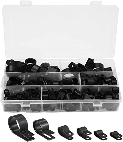 200pcs Kit Black Plastic R Type Cable Clip Clamp Wire Hose Tube With Plastic Box