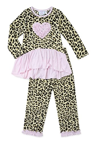 Sara's Prints 2-Piece Leopard Print Ruffle Tunic & Long Pant Pajama, Size (Saras Prints Girls 2 Piece)