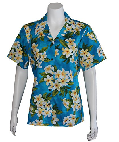Alohawears Clothing Company Made in Hawaii ! Womens Plumeria Season Hawaiian Aloha Camp Shirt