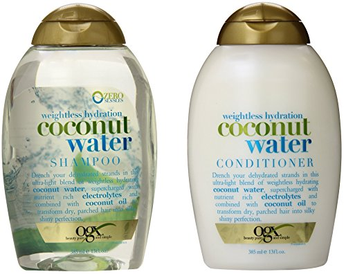 OGX Weightless Hydration Coconut Water Shampoo & Conditioner, 13 Ounce (Combo Set) (Drench Hydrating Shampoo)