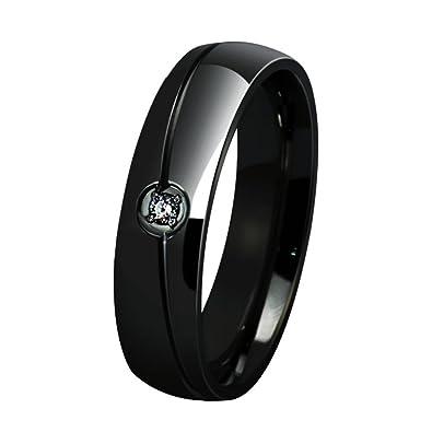 Aruie Bague Anneau Pour Homme Femme En Acier Avec Diamant Simulé Zircon Rainure Ligne Simple Classique Fiançaille Alliance Mariage Bijoux Or Noir