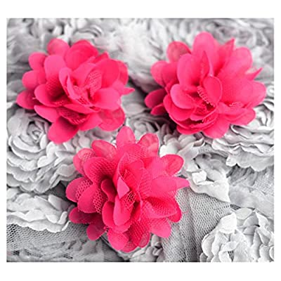 12 Chiffon Tulle Chic Rose Flower Fuchsia Hot Pink Silk Bridal Baby Hair Comb Bow Headband Clip FREE Combine Shipping US SF045
