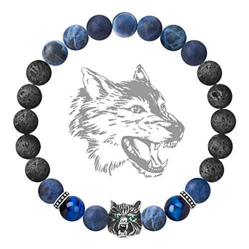 Karseer Antique Silver Viking Wolf Anxiety Relief Energy Bracelet Natural Sodalite Crystal and Lava Stone Beaded Stretch Bracelet Essential Oil Diffuser Chakra Bracelet Friendship Jewelry Gift, 7