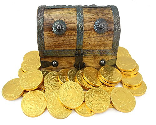 Mini Pirate Treasure Chest Filled 25 Large Gold Foil Milk Chocolate Coins By WellPackBox by Well Pack Box