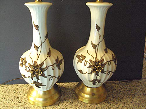 Pair of Antique Porcelain Table Lamp with Applied Brass Flowers ()