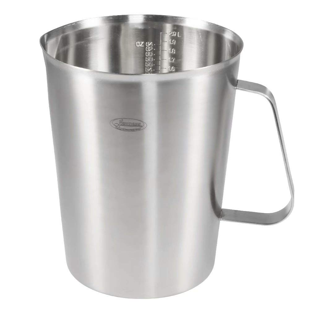 Measuring Cup, [Upgraded, 3 Measurement Scales, Including Cup Scale, ML Scale, Ounce Scale], Newness Stainless Steel Measuring Cup with Marking with Handle, 64 Ounces (2.0 Liter, 8 Cup)