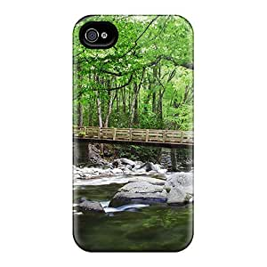 Top Quality Case Cover For Iphone 4/4s Case With Nice Bridge Over Mountain Stream In Tennessee Appearance