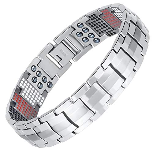 Double Row Magnetic Therapy Bracelet 4 in 1 Bio Elements Energy Health Care Jewelry Pain Relief for Arthritis and Carpal Tunnel (Plus)