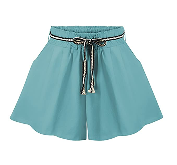 Pantalon Corto Mujer Verano Elegantes Shorts Casual Alto Cintura Anchos Tallas Grandes Pantalones Cortos Rebajas Ropa