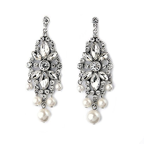Large High Fashion Art Deco Style Rhinestone Faux Pearl Large Statement Wedding Bridal Prom Long Dangle - Bridal Faux Earrings Pearl