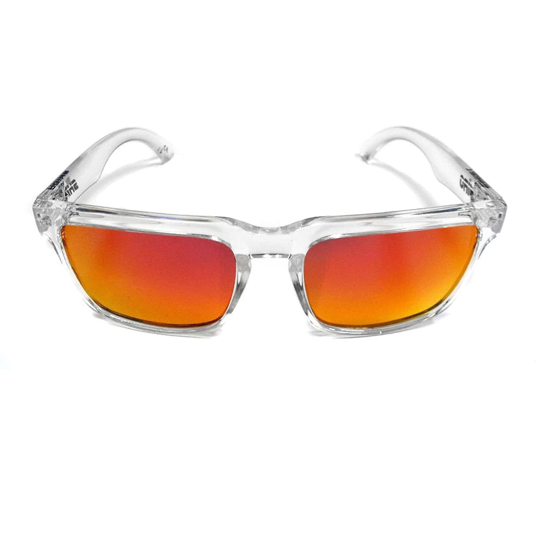Polarized Wayfarer Sunglasses - UV Protection - Unisex, Adult - Frame: CLEAR Lenses: IRIDIUM RED (965)