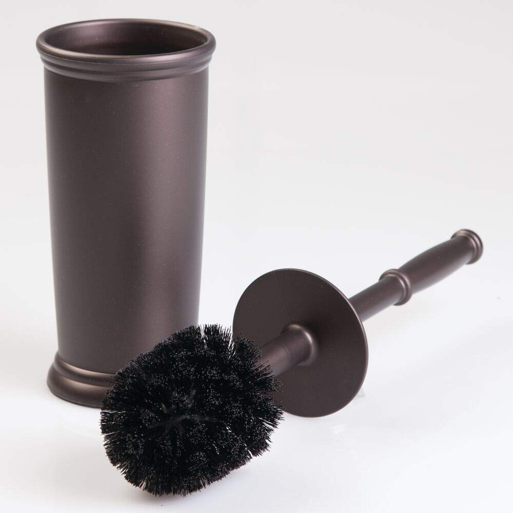 mDesign Compact Freestanding Plastic Toilet Bowl Brush and Holder for Bathroom Storage and Organization - Space Saving, Sturdy, Deep Cleaning, Covered Brush, 4 Pack - Bronze by mDesign (Image #7)