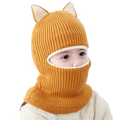 Kids Winter Hat, Baby Knit Hat, Baby Girls Boys Winter Hat, Thick Scarf Earflap Hood Scarves Skull Caps, 1-5 Years Kids (Yellow)