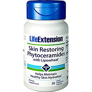 Life Extension Skin Restoring Phytoceramides with Lipowheat, 30 Liquid Vegetarian Capsules