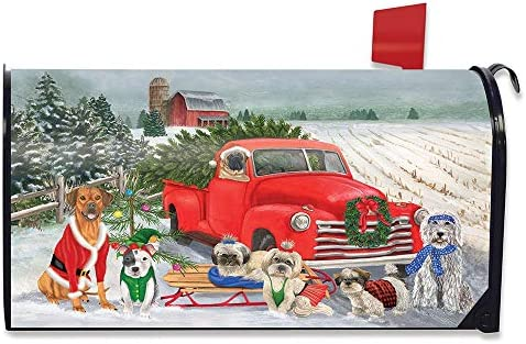 Briarwood Lane Holiday Dogs Christmas Magnetic Mailbox Cover Pickup Truck Humor Standard