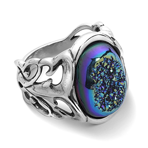 Carolyn Pollack Sterling Silver Cassiopeia Seas Drusy Ring - 9 - Country Couture Collection - Blue Quartz Ring