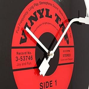"""NeXtime Reloj de pared  """"VINYL TAP"""", diseño disco de vinilo, de vidrio, negro y rojo, redondo, ø 43 cm 2"""