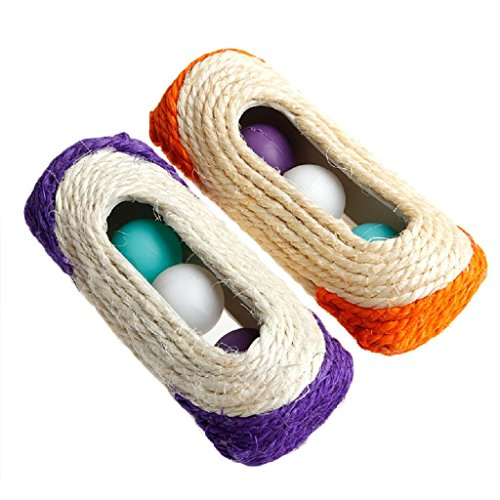 Price comparison product image Forgun Pet Cat Kitten Toy Rolling Sisal Scratching Post 3 Trapped Ball Training Toy