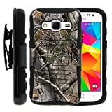 Samsung Galaxy Core Prime Case, Samsung Galaxy Core Prime Holster, Two Layer Hybrid Armor Hard Cover with Built in Kickstand and Unique Graphic Images for Samsung Galaxy Core Prime G360 (Boost Mobile) from MINITURTLE | Includes Screen Protector - Tree Bark Hunter Camouflage