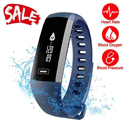 Smart Watch Fitness Tracker READ R5.PRO Heart Rate Monitor Blood Pressure Bracelet Pedometer Activity Tracker Sleep Monitoring Call SMS SNS Remind Watch for Android iOS (Blue)