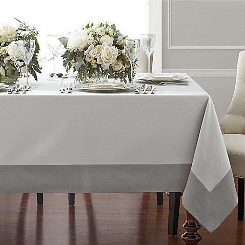 Wamsutta Bordered Linen 70-Inch x 144-Inch Oblong Tablecloth in Grey