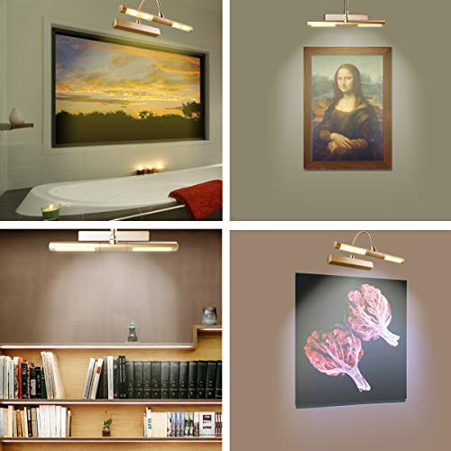 LUXSWAY Picture Light Wireless Battery Operated Remote Control Lights Heads Rotatable 180 Degree Auto Off Time Preset Dimmable LED Lighting for Artwork/Pictures/Diplomas-Gold by LUXSWAY (Image #6)