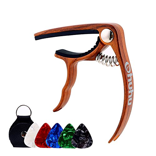 Ohuhu Guitar Capo for Acoustic,Electric Guitars, Ukulele,Zinc Alloy- Quick Change Guitar Capo With Free 5 Picks & Pick Holder( RoseWood Color), Acoustic Guitar Accessories Trigger Capo Key - Single Holder Clamp Drum