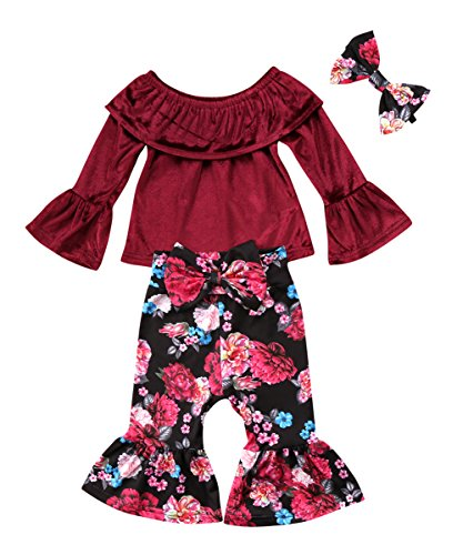 Plaid Smocked Top Dress (Ma&Baby Kids Girls Lace T Shirt+Flower Pants Bellbottoms 3pcs Outfits Set Cotton Pullovers Clothing (12-18 Months))