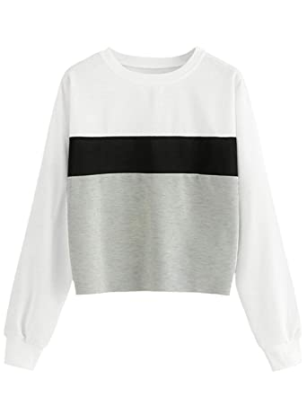 6c66802ebc Siennaa Pull Fille Ado, Pull Femme Pas Cher à La Mode Sweat Court Ado Sport  Contraste Veste Gilet Manteau Sweat-Shirt Chic Automne Tee Shirt T-Shirt ...