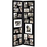 Adeco Decorative Black Wood Folding Floor-Standing Collage Picture Photo Frame, Hinged, 26 Openings of 4x6 inches, 5x7 inches