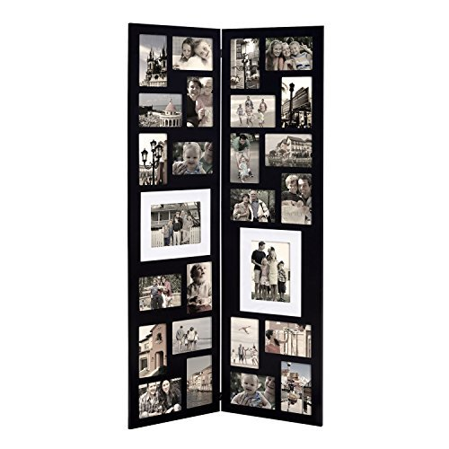 ive Black Wood Folding Floor-Standing Collage Picture Photo Frame, Hinged, 26 Openings, 4x6, 5x7,Black ()