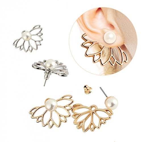2 Pairs Lotus Flower Women Lovely Crystal Earrings Pearl Front and Back Ear Stud Jewelry - Pearl Flower Cuff