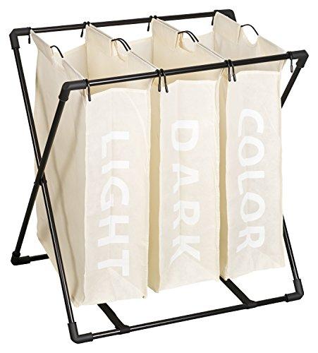 TOPP4u Wäschesammler 3 einzelne Fächer für 120 L, 63x44x64 cm, kompakter, klappbarer und stabiler Trio Wäschesortierer, 3 einzeln herausnehmbare Wäschebeutel mit je 40 Liter Volumen pro fast weißem Wäschekorb