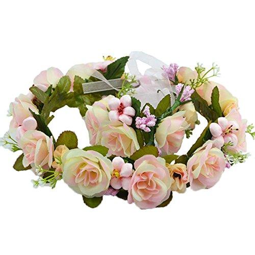 Ever Fairy Women Flower Wreath Crown Floral Wedding Garland Headband Wrist Band Set (Pink-3)