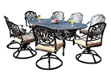 GrandPatioFurniture.com CBM Patio Elisabeth Collection Cast Aluminum 9 Piece Dining Set with 8 Swivel Rockers SH211-8S CBM1290 For Sale