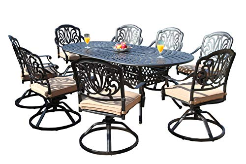 GrandPatioFurniture.com CBM Patio Elisabeth Collection Cast Aluminum 9 Piece Dining Set with 8 Swivel Rockers SH211-8S CBM1290 ()