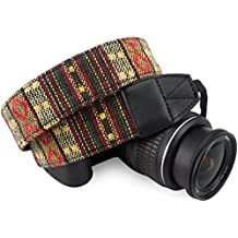 Wolven Pattern Canvas Camera Neck Shoulder Strap Belt for All DSLR/SLR/Men/Women etc, Yellow Stripe Pattern