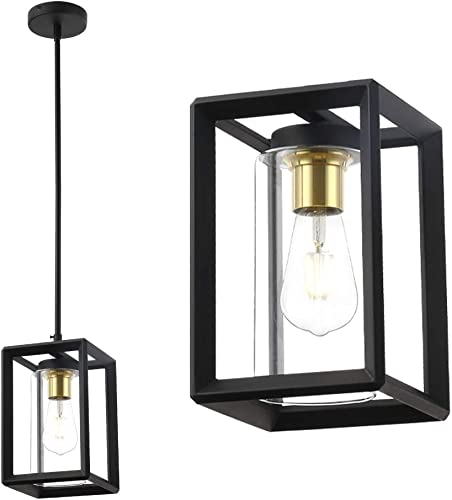 Pendant Lamp Lighting Metal Wire Cage Hanging Lantern Lamp with Adjustable Length Cords Pendant Light Fixture Clear Glass Shade Kitchen Lamp for Kitchen Restaurants Hotels and Shops Matte Black
