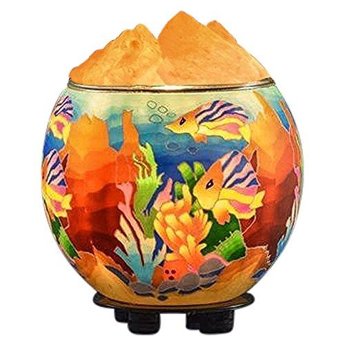 Himalayan CrystalLitez,Natural Himalayan Salt Lamp in A Handcrafted and Unique Artisan Bowl,Natural Air Purifier and Aromatherapy Salt Lamp (Fishes)