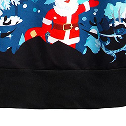 YesFashion Femme sweater à manches longues imprimé Neige de Noel père de noel Motif