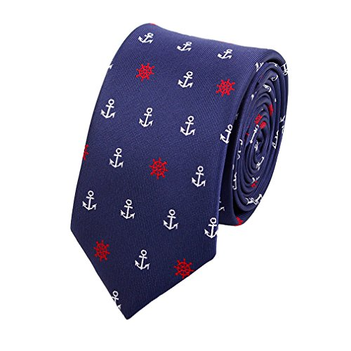 Levao Men's Classic Anchor Pattern Skinny Jacquard Tie Men's Necktie -