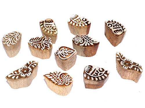 Set of 10 Design Wooden Printing Stamp Block Hand-Carved for Saree Border Making Pottery Crafts Mehandi Printing (B)