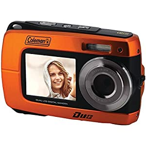 """Coleman Duo2 18.0 MP HD Underwater Digital & Video Camera (Waterproof to 10 ft.) with Dual LCD Screens, 2.7"""", Orange (2V8WP-O)"""