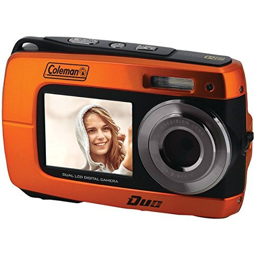 Coleman Duo2 18.0 MP HD Underwater Digital & Video Camera (Waterproof to 10 ft.) with Dual LCD Screens, 2.7″, Orange (2V8WP-O)