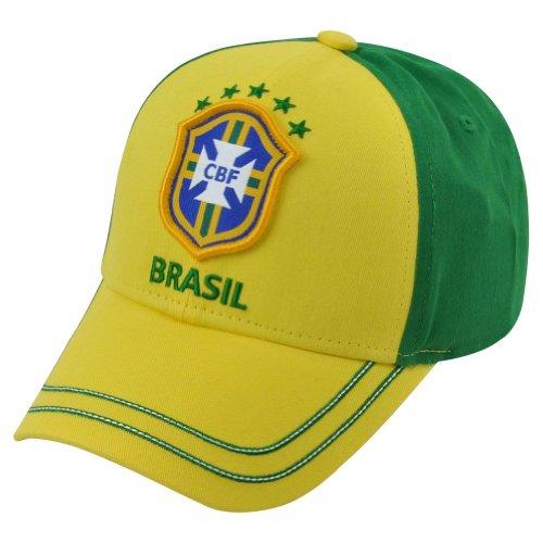 Rhinox Brasil Cap BRZIL Adjustable Hat Official Football Soccer Merchandise USA (Yellow C1S14) ()
