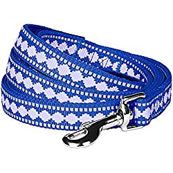 """Blueberry Pet 7 Colors 3M Reflective Jacquard Dog Leash with Soft & Comfortable Handle, 5 ft x 3/4"""", Palace Blue, Medium, Leashes for Dogs"""