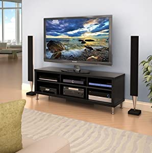 valhalla broadway black 55 inch flat screen tv stand entertainment media center with. Black Bedroom Furniture Sets. Home Design Ideas