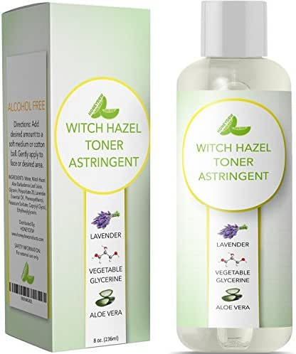 Witch Hazel Toner for Face Alcohol Free Astringent with Pure Lavender Essential Oil & Aloe for Oily Acne Prone + Dry Mature Sensitive Skin to Cleanse + Refresh Skin Natural Skin Care for Men & Women